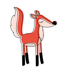 female fox cartoon with closed eyes expression in vector image