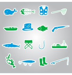 fishing stickers set eps10 vector image vector image