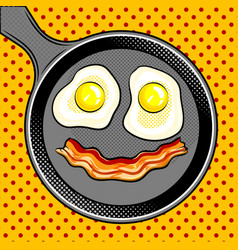 Fried eggs bacon looks like smile pop art vector