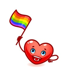 Friendly heart with rainbow flag in his hand free vector