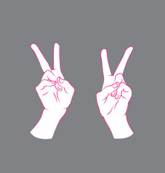 gesture v sign by hands vector image