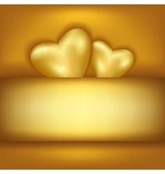 Golden stylish festive background with two hearts vector image vector image