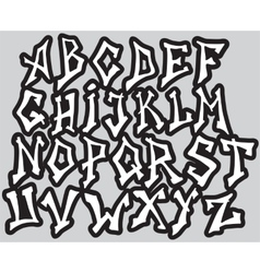 Graffiti font alphabet different letters vector