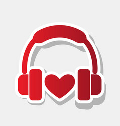 headphones with heart new year reddish vector image vector image