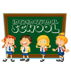 international school sign with students in uniform vector image vector image