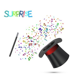 Magician Top Hat and stick with confetti vector image vector image