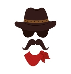 Man mustache hat western icon graphic vector