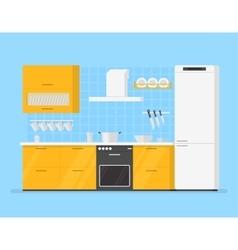 modern interior kitchen room in yellow tones vector image