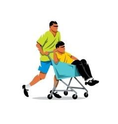 Riding supermarket shopping cart Cartoon vector image vector image