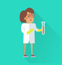 Scientist at work flat style vector