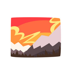 Snowy rocky mountains at sunset beautiful vector