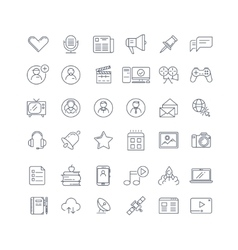 Social media network line icons set vector
