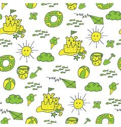 Summer pattern beach green yellow vector