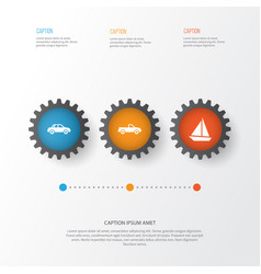 transportation icons set collection of yacht vector image