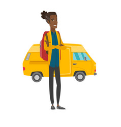 Traveler standing on the background of minibus vector