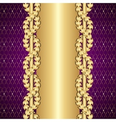 Vintage gold and purple background with laurel vector image
