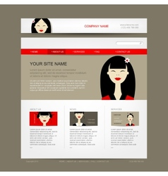 Website design template with asian woman vector image vector image
