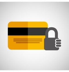 Credit card banking money security padlock vector