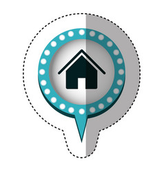 Sticker with house in circular speech with blue vector