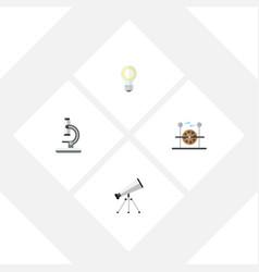 Flat science set of electrical engine lightbulb vector