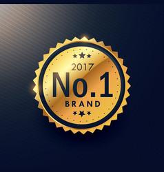 Number one brand golden premium luxury label to vector