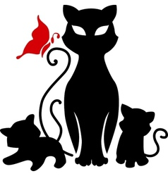 cat with kittens vector image