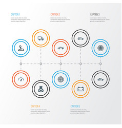 Car outline icons set collection of washing vector