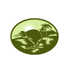 Kiwi bird side view with tree in background vector image