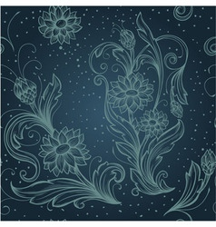 seamless blue pattern with decorative flowers vector image