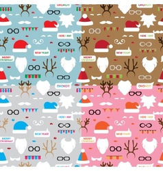 Seamless pattern scrapbooking set santa reindeer vector