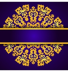 Blue invitation with gold lace round ornament vector image