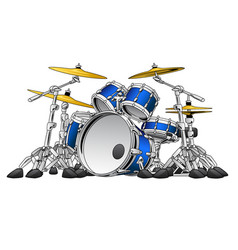 5 piece drum set musical instrument vector image