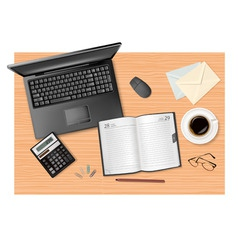 laptop and calculator and dairy vector image