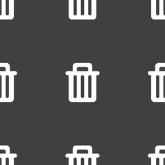 Recycle bin icon sign seamless pattern on a gray vector