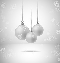 Set of three silver christmas balls with vector