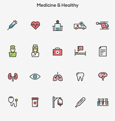 Flat line color icons Medicine and Healt vector image