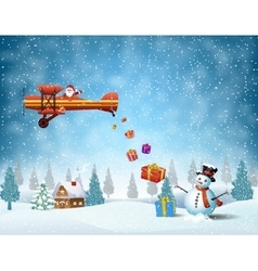 Light plane with santa claus vector