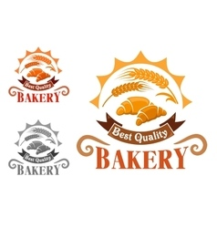 Bakery shop emblem with french croissants vector