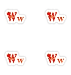 Assembly stickers fiery font red letter w on white vector