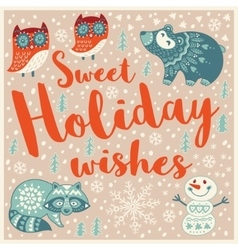 Greeting holiday card with owls bear snowman and vector
