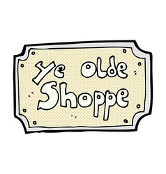 Comic cartoon old fake shop sign vector