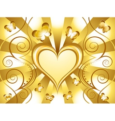 Gold heart background vector