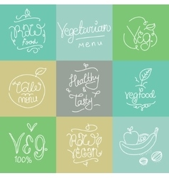 Vegetarian food labels hand drawn typographic vector
