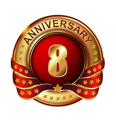 8 anniversary golden label with ribbon vector image