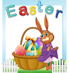Easter bunny with basket of eggs vector