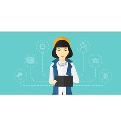 Woman holding tablet computer vector