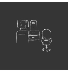 Computer set with table and chair drawn in chalk vector