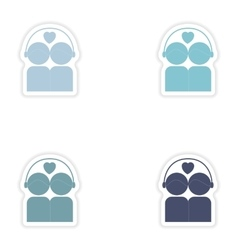 Set of paper stickers on white background couple vector