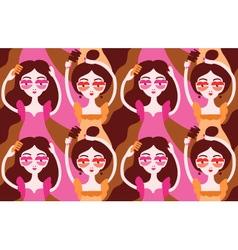 Women doing their hair brushing hair Girls wearing vector image