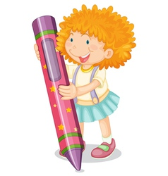 a girl holding pencil vector image